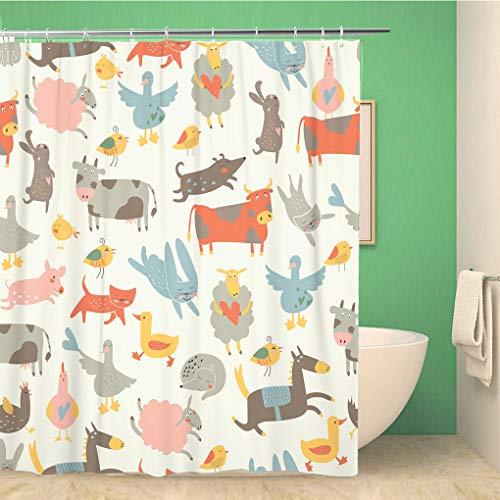 Awowee Decor douchegordijn Beige Damask in het van barok bruin patroon Vintage 180x180cm polyester stof waterdichte badgordijnen Set met haken voor badkamer