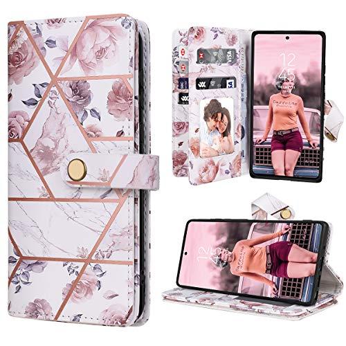 Dracool für Samsung Galaxy Note 20 Ultra 6.9 Zoll Hülle Handyhülle Premium Leder Flip Wallet Hülle für Mädchen mit 10 Kartenfach Magnet Lederhülle Klapphülle Schutzhülle - Rose Gold Blumen Marmor