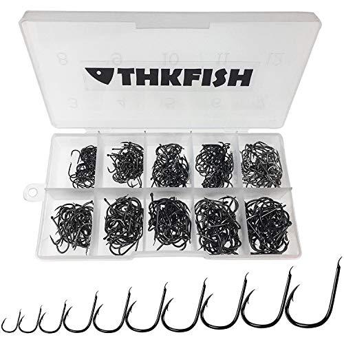 THKFISH no ojo anzuelos de pesca, 500 piezas # 3- # 12 de agua dulce agua salada no porosa negro de acero de alto carbono anzuelo anzuelo Pack Carp Fishing Tackle no ojo Anzuelos de pesca
