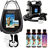 Ultra Pro T85-QC High Performance Sunless Turbine Spray Tanning System; Belloccio 4 Solution Variety Pack, Tanning Tent, Accessories and Video Link
