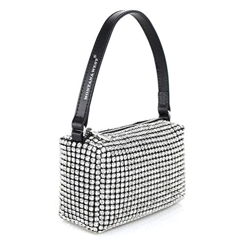 Montana West Evening Handbags for Women Rhinestone Clutch Purse Crystal Wedding Party Silver Bling Crossbody Wallet Small Bags with Diamonds MWL-019-WT