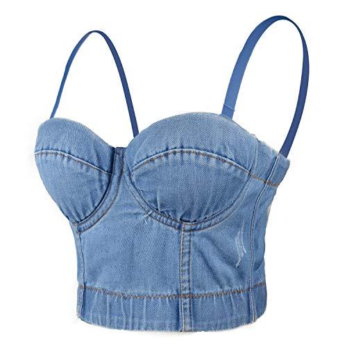 ELLACCI Women's Denim Bustier Crop Top Jean Corset Top Bra with Detachable Straps Large