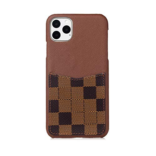 gxin Brown Checker - New Elegant Luxury Fashion PU Leather Design Pattern Stylish Card Slot Cover Case for Apple (iPhone 6/6s/7/8 Plus)