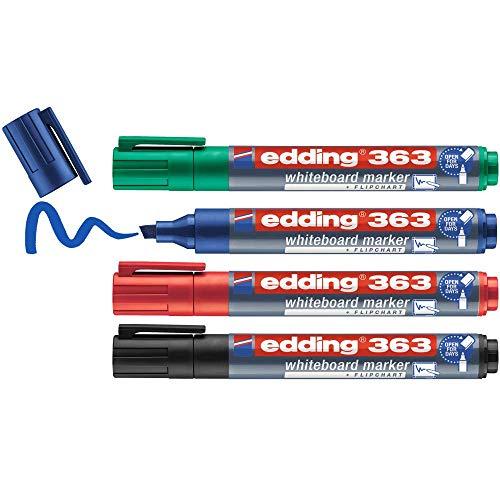 edding 363 Whiteboardmarker Set - bunte Farben - 4 Whiteboard Stifte - Keilspitze 1-5 mm - Boardmarker abwischbar - für Whiteboard, Flipchart, Magnettafel, Memoboard - Sketchnotes - nachfüllbar