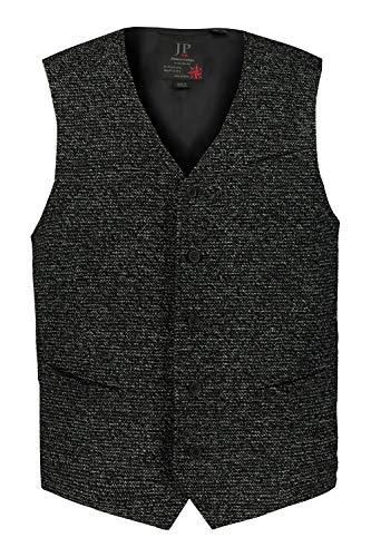 JP 1880 Herren große Größen bis 7XL, Strick-Weste, lässig und gepflegt, Klassische Optik, V-Ausschnitt, Spitzen Saum, schwarz 64 720241 10-64