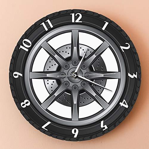GoodWell Reloj De Pared con Diseño De Neumáticos Automóvil Personalizado Coche Reloj con Ledes, con Iluminación, Reloj De Pared Moderno, Grande, Regalo para Hombres, Decoración De Pared,A