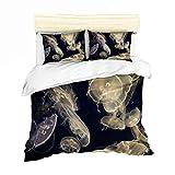 Tamaño Medusas Duvet Cover Set único para Criaturas Marinas niños del lecho del océano Cubierta de edredón de Microfibra Sea Life Colcha Cubierta Ligera,3,King Xl102×90in