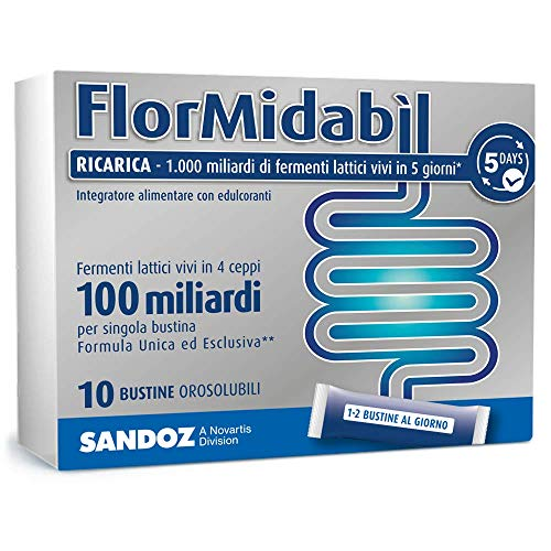 Flormidabil Ricarica - Fermenti Lattici Probiotici in 10 Bustine Orosolubili, 1.5 g