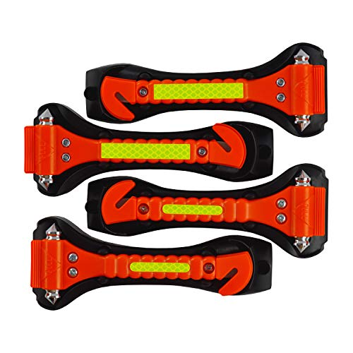 Segomo Tools 4 x Emergency Escape Safety Hammers with Car Window Breaker & Seat Belt Cutter - ESH04