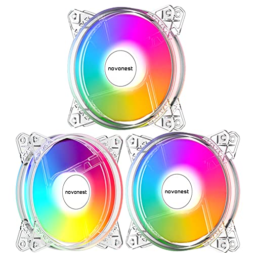 novonest RGB Ventole 3 Confezioni, ARGB LED 120mm Silenziose Ventole di Raffreddamento PC per Computer, Controllo della Scheda Madre/Controller RGB, velocità Ventola/velocità LED Regolabili, N206-3