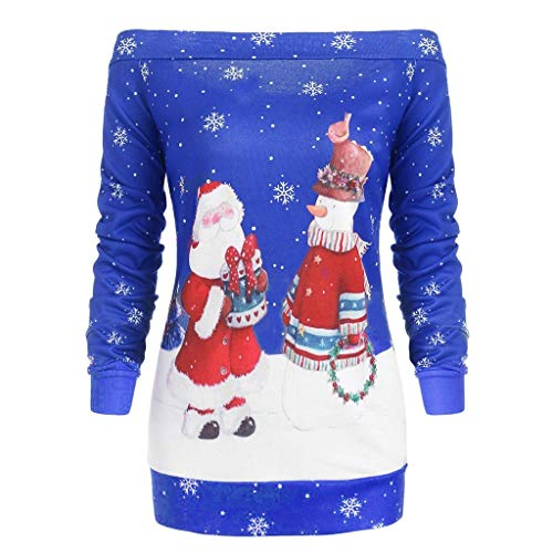 Pull Noel Femme Imprimé Pulls de Noël Sweat Shirt Noel Moche Oversize Pull Over Père Noël Sweat Col Rond Christmas Drole Sweat-Shirt Manche LongueHors Épaule