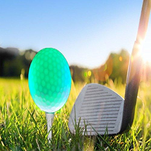 Leuchtende Golfbälle, 6 Stück Golf Übungsbälle, LED Leuchte Golf, Elektronische LED Leuchtgolfbälle für Nachttraining Mit Großer Reichweite und Distanzschüssen (Blaulicht) (Grünes Licht) - 5