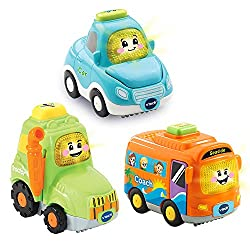3 cute everyday vehicles · Push the vehicles along or press the button for more fun phrases & movements. ·Each vehicle Includes 3 sing-along songs and 6 lively melodies. · Encourages motor skills, role-play fun, language development...