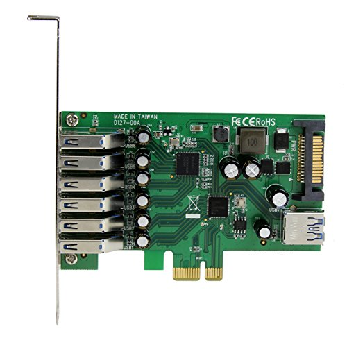 StarTech.com 7 Port PCI Express USB 3.0 Card - Standard & Low-Profile - SATA Power - UASP Support - 1 Internal & 6 External USB 3.0 Ports (PEXUSB3S7)