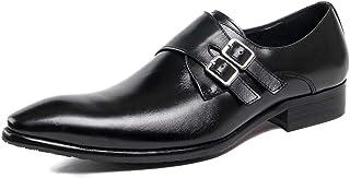 [WEWIN] ビジネスシューズ メンズ ダブルモンクストラップ スリッポン 紳士靴 革靴 本革 ロングノーズ スニーカービズ ドレスシューズ 冠婚葬祭 防滑 通気 おしゃれ
