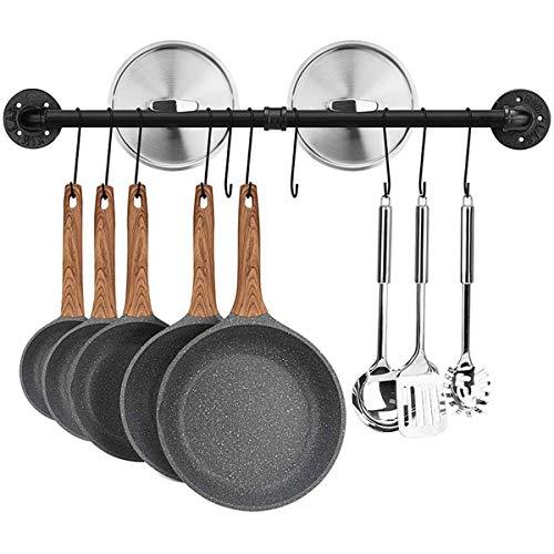 Astory Soporte de pared para barra de 100 cm, para utensilios de cocina, con 10 ganchos, color negro