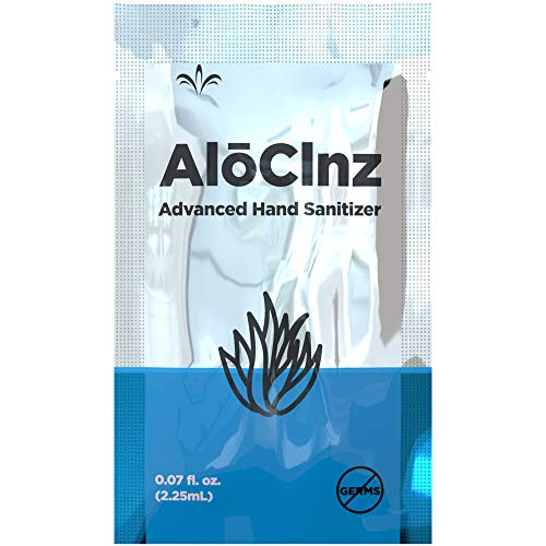 AlōClnz- Advanced Hand Sanitizer - 1 Box of 50, 0.07 fl oz, Single Use Packets - Protection is in your hands