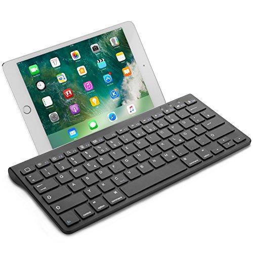 OMOTON Wireless Deutsche Bluetooth Tastatur (ultraschlanke) für alles Apple iPad Air, iPad Pro,iPad Mini,iPhone x,iPhone 8 Plus/ iPhone 8/ iphone 6s und andere iOS Gerät,QWERTZ,mit Halterung,schwarz