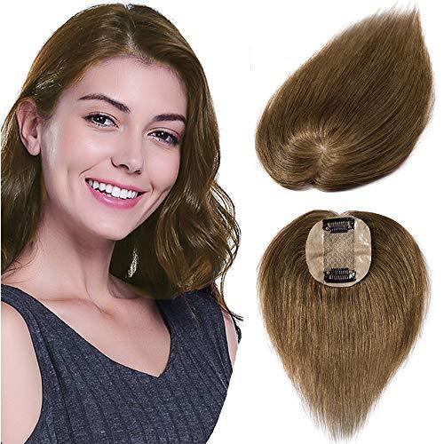 Clip in Extensions Echthaar Toupet für Frauen 100% Human Hair Natürlich Weich Haarteil mit 6 * 9cm Seide Basis 15cm-15g 06# Hellbraun