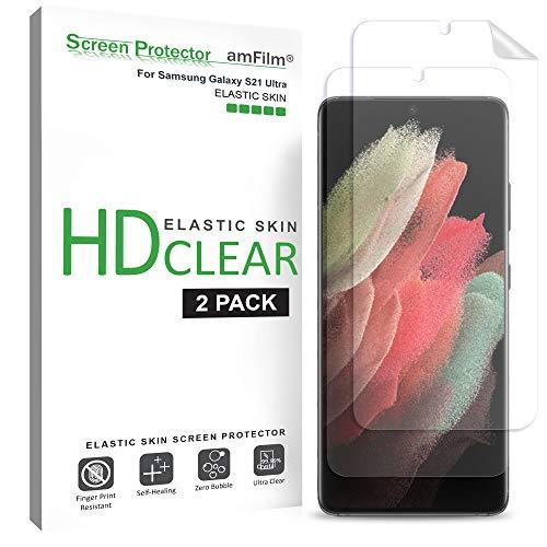 amFilm (2 Pezzi) Pellicola Protettiva Compatibile con Samsung Galaxy S21 Ultra (6.8'), Copertura Totale (Facile Installazione) Trasparente HD Elastiche TPU Protezione Schermo (2021)