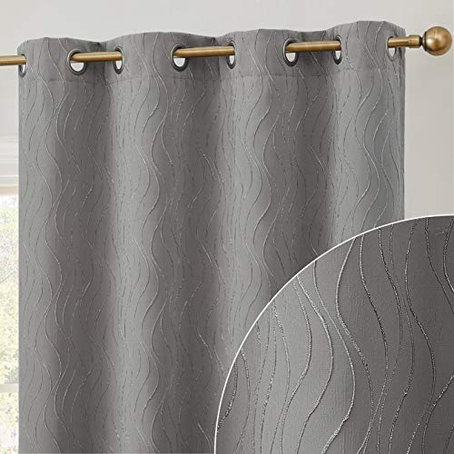 """HLC.ME Camden 100% Complete Blackout Thermal Insulated Window Curtain Grommet Panel Sliding Glass Patio Doors - Energy Efficient, Complete Darkness, Noise Reducing - (100"""" W x 84"""" L, Charcoal Grey)"""