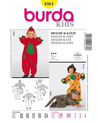 Burda 4361 Schnittmuster Kostüm Fasching Karneval Drache Clown Katze (kids, Gr. 80 - 104) Level 3 mittel