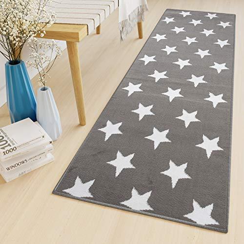 Tapiso Luxury Alfombra de Pasillo Cocina Escalera Diseño Moderno Gris Blanco Estrellas Pelo Corto Suave 80 x 250 cm