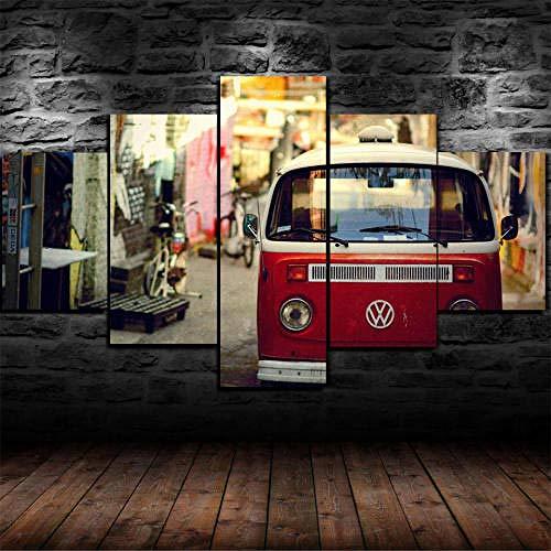 Impresión En Lienzo 5 Piezas Cuadro Sobre Lienzo,5 Piezas Cuadro En Lienzo,5 Piezas Lienzo Decorativo,5 Piezas Lienzo Pintura Mural,Regalo,Volkswage Mini Bus Tipo 2 Vw Travel,Decoración Hogareña