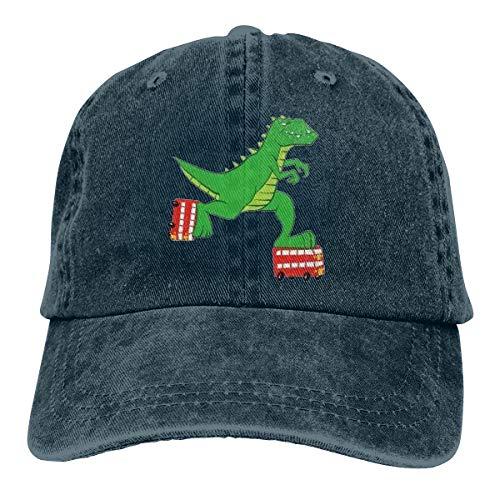 Zhgrong Neuer Dinosaurier, der einen Bus fährt Schlittschuhe Denim Navy Classic Baseball Cap Papa Hut% Baumwolle Weiche einstellbare Größe