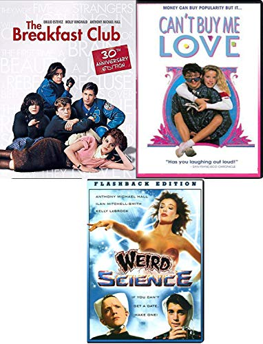 Detention & Dating Teen Movies Weird Science Totally 80's + Breakfast Club John Hughs Flashback Fun movie Set Three Pack & Can't Buy Me Love Film Feature Bundle