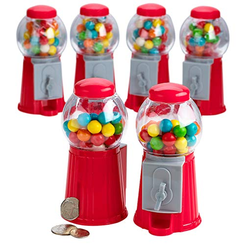 Kicko 5 Inch Gumball Machine - 6 Pieces Classic Candy Dispenser - Perfect for Birthdays, Kiddie Parties, Christmas, Novelties, Kitchen Dessert Buffet, Party Favor and Supplies