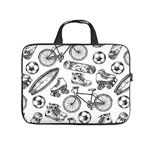 Facbalaign Karikatur Laptoptasche Fußball Skateboard Computer-Handtasche Muster Hochwertige mit Griff White 10 Zoll
