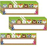 40 Pieces Woodland Friends Name Plate, Traditional Manuscript Flat Left/Right Alphabet Name Tags with Glue Point Dots for School Classroom Student Desks Woodland Creatures Decoration, 11.5 x 4 Inch