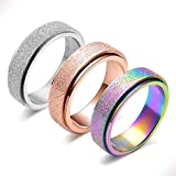 Spinner Ring for Women Anxiety Relief - 3Pcs Fashion 6MM Stainless Steel Sand Blast Glitter Finish Rose Gold Silver Rainbow Color Fidget Ring Band Set Stress Sensory Figit Spin Figet Jewelry Size 11