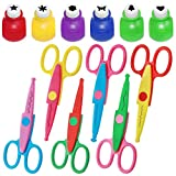 Set of 12, Craft Punch and Creative Scissors, findTop Scrapbooking Edging Scissors Paper Punch Set for Crafts,...