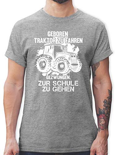 Andere Fahrzeuge - Geboren um Traktor zu Fahren - 3XL - Grau meliert - shirttracer Tshirt Herren - L190 - Tshirt Herren und Männer T-Shirts