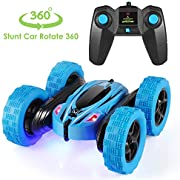 Tg-one Remote Control Car, 2.4GHz RC Cars Stunt Car, Double Sided 360° Rolling Rotating Rotation, LED Headlights 4WD High Speed Off Road for 3 4 5 6 7 8-12 Year Old Boy Toys