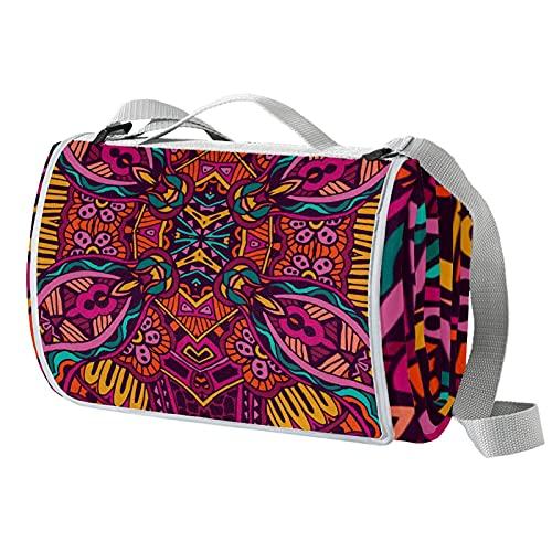 Manta de picnic portátil de 57 x 59 pulgadas, impermeable, para playa, camping, césped, música, festival, étnico, bohemio, flor