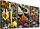 Abstract Wall Art Paintings for Kitchen Dining Room Wall Decor for Living Room Wine Glass Bar Wall Artworks Pictures for Bedroom Decoration, 12x16 Inch/Piece, 3 Panels Restaurant Home Decorations