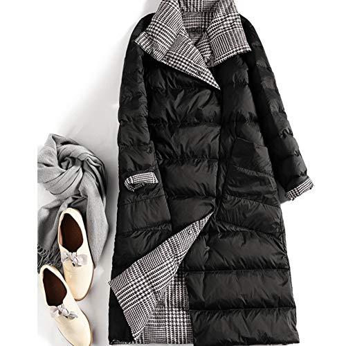 GDRFHJZ Winter Tweezijdig Down Jacket Plaid Lange Stijl Over Knie Vrouwen Jas Lapel Retro Eenvoudige Warm Vrouwelijke Kleding