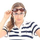 DUCO Unisex HD Wraparound Prescription Glasses Polarized Sunglasses 8953 (M Size Wine Red Frame Brown Lens)