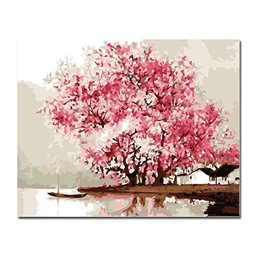 ZDDYX pintura DIY pintado a mano pared decoración del hogar diy pintura al óleo rosa flor de cerezo…