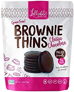 Lillabee Brownie Thins Classic Chocolate, Paleo Friendly, Gluten Free, Low Carb, Healthy Snacks, High Protein, Crunchy Cookies , Grain free, No Dairy, No Soy 4oz bag (3 Pack)