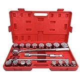 Qiilu Standard Drive Socket Wrench Spanner Set Car Truck Repair Tools Sockets 21pcs 3/4'