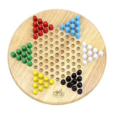 jiumoji Wooden Chinese Checker All Ages Classic Strategy Checkerboard Game for Up to Six Players