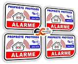 Sticker Alarme Vidéo-Surveillance Autocollant (Lot de 4 Stickers)