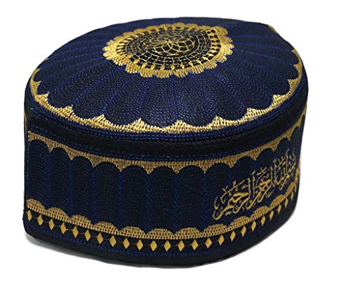 Alwee ALW001 Men's Muslim Prayer Kufi Hat Skull Cap Islam takke Praying Beanie (23.5 inch (59.5 cm.), Dark Blue)