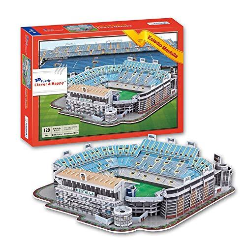 Modelo de Estadio Deportivo 3D, Equipo del Estadio de Mestalla de España. Fans de Modelo Souvenir DIY Toy (13.2'× 12.6' × 3.4')