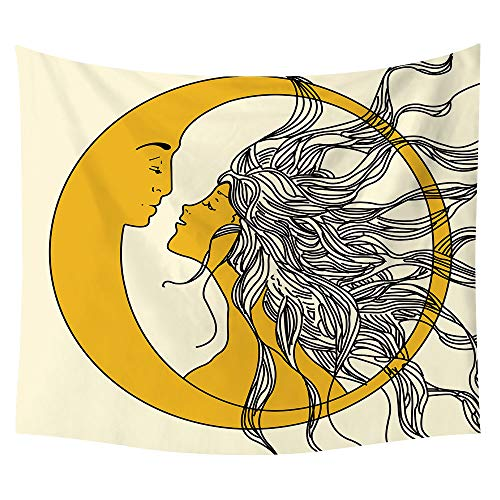 SOFTBATFY Aesthetic Moon and Sun Wall Hanging Tapestry, Moon and SunTapestry for Living Room Office, Bedroom Dorm Headboard Tapestries Home Decor (Medium-51 58inches)