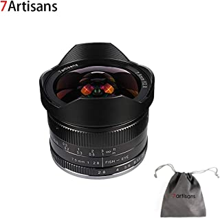 7artisans 7.5mm F2.8 APS-C Wide Angle Fisheye Fixed Lens for Compact Mirrorless Cameras Panasonic Micro 4/3 MFT Mount G1 G2 G3 G5 G6 G7 GF1 GF2 GX1 GX7 GM1 GM5 GH1 GH4 GH5-Black